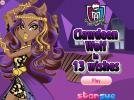 Clawdeen Wolf in 13 wishes dress up game.