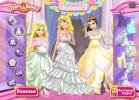 Choose a best dress for Aurora, Rapunzel and Belle.