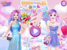 Barbie and Elsa in Candyland dress up game.