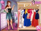 Princess Belle in choosing a dress.