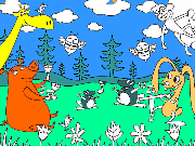 Colour the animals in the forest