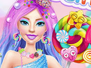 Barbie and Elsa in Candyland game