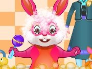 Elsa bathes the Easter bunny game
