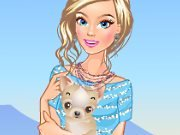Cute puppy and girl game