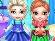 Elsa and Anna wash toys game