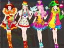 Four outfits in clown style for Barbie.