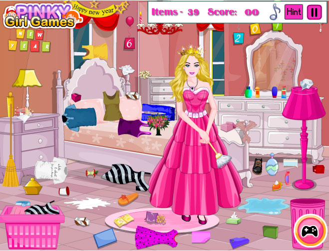 Princess Barbie New Year Clean Up Game