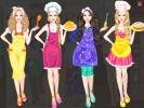 Versions of dress up Barbie.