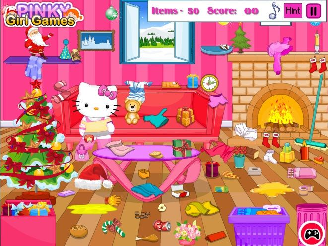 Hello Kitty Christmas Room Clean Up Game