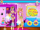 Rapunzel and Elsa PJ Party dress up game.