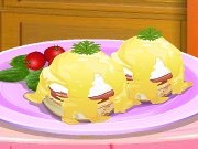 "Fun game Cooking school: ""Benedict"" eggs"