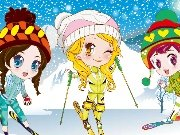 Three girls on ski resort