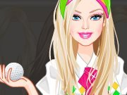 Fashion-monger Barbie plays golf game