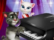 Cat Tom plays the piano for Angela game